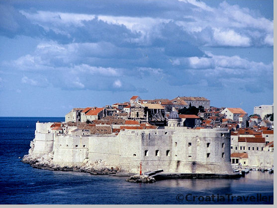 View of Dubrovnik's walls from the sea