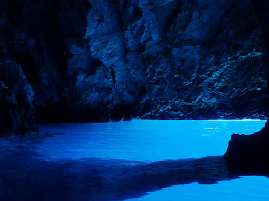 Inside the Blue Cave on Bisevo Island