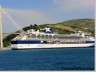 Cruise ship docked in Dubrovnik
