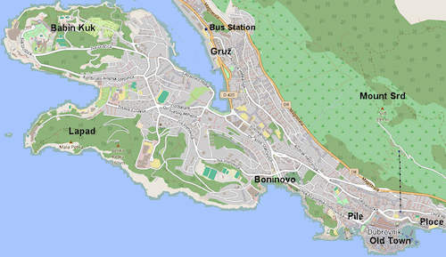 Map of Dubrovnik's neighbourhoods