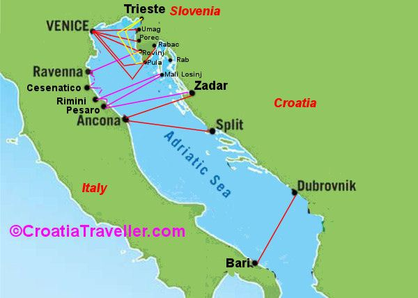 Croatia Ferry Map