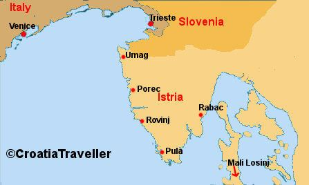 Map of Ferries to Istria from Venice