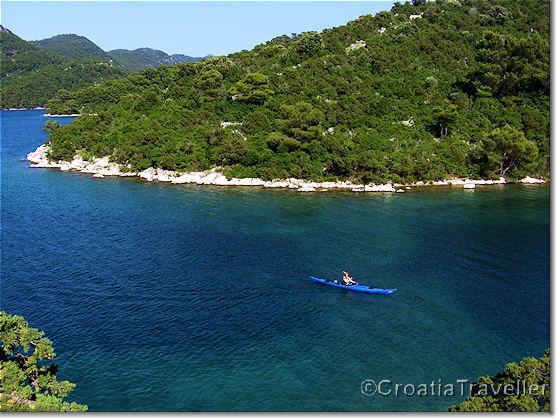 Kayaking on Veliko Jezero, Great lake, Mljet island
