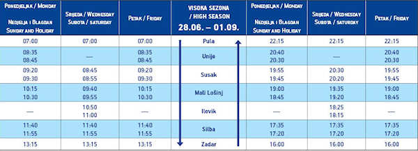 Pula-Zadar summer ferry timetable