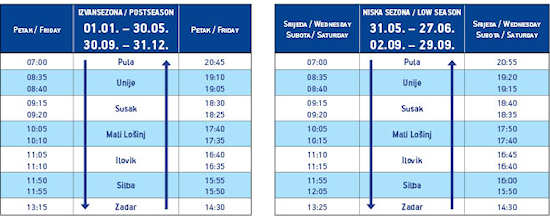 Pula-Zadar winter ferry timetable