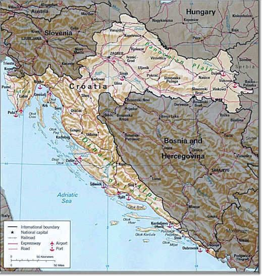 Topographical Map of Croatia