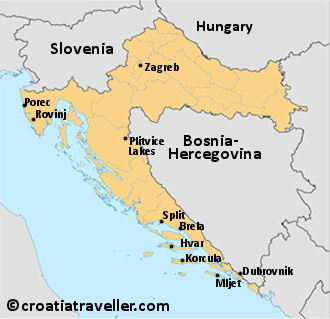 Map of Croatia with top sights
