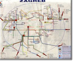 Zagreb bus map