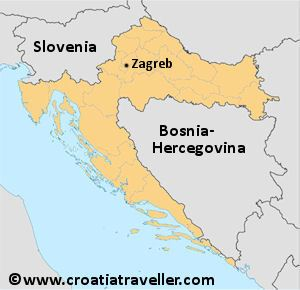 Zagreb on a Croatia map